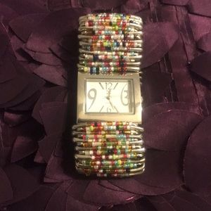 Jewelry - Fabulous beaded watch! Stainless steel face